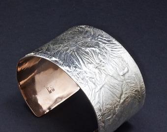 Copper and Sterling Silver Cuff Bracelet, Melted Silver On Copper, Wide Cuff Bracelet , Mens Cuff, Rugged Cuff, Moonscape Cuff