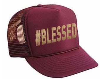 Blessed Trucker Hat , #BLESSED,Trucker Hats, Hats & Caps, Baseball Caps, Trucker hat for women, custom trucker hat, womens trucker hat