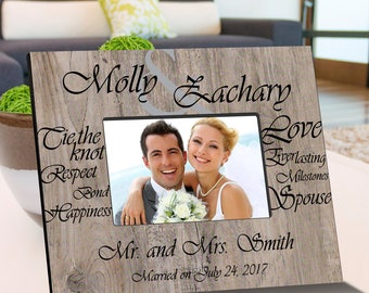 Tying The Knot Wooden Picture Frame - Personalized Picture Frames - Wedding Day Picture Frame - Wedding Gifts - Anniversary Gift Ideas