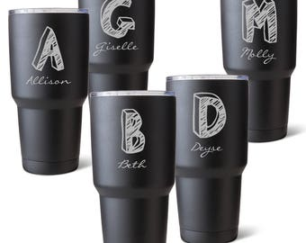 Personalized 30 oz. Matte Black Double Wall Insulated Kate Monogram Tumbler - Personalized Tumblers for Bridesmaid's Gifts - GC1524X5