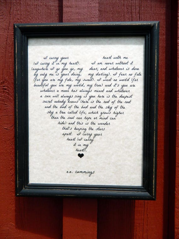 I Carry Your Heart EE Cummings Love Poem Wedding Gift