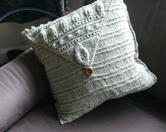 Luxury Llama Hand Knitted Cushion in Sage Green