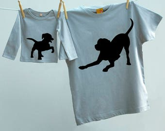 Matching Dog T shirt Twinset for Father Son or Daughter with Puppy tee Father Gift