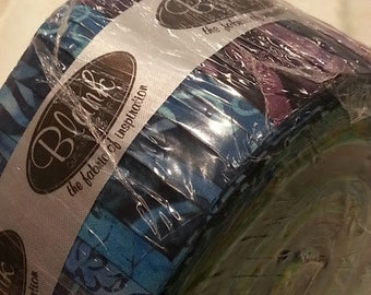 Batik 2.5 Inch strips, Oceanside Blue - Sumatra I, Jelly Roll  - Blank Quilting - (40) strips, 2.5 Inch