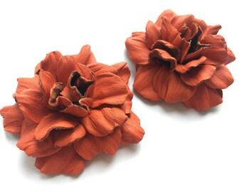 Shoe clips, Flower shoe clips, Decoration shoe, Orange flower leather, Clips for shoes