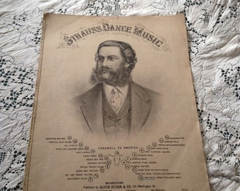 1800's Sheet Music Strauss Dance Music 10 page Lithograph