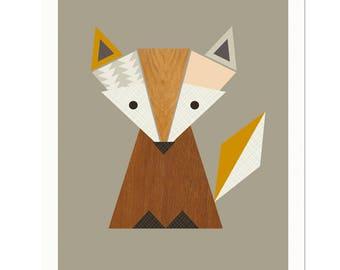 Little Fox Nursery Art, Woodland print, Fox art, Scandinavian Art, Scandinavian, Fox print Kid Art, Fox Prints,Woodland nursery,Nursery art.