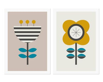 Scandi Flowers Modern Art Prints (Series of Two.) Scandinavian art, flower prints, modern art,modern nursery art.
