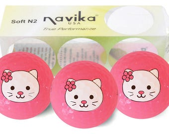 Pink Neon Golf Balls with Kitty Imprint