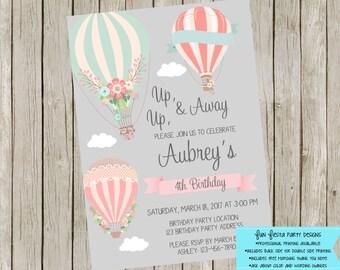 Birthday Hot Air Balloon invitation set
