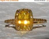 HOLIDAY SALE... Canary Yellow Ceylon Sapphire Diamond Halo Engagement Ring, Yellow Sapphire Engagement Ring, Yellow Diamond Engagement Ring