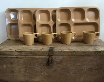 Vintage Kenro Brown Lunch Tray and Cups Set