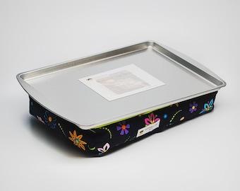 Black Lap Desk Flowers - Kid's Lap Desk Flowers - Black Lap Desk for Girls - Kid's Lap Tray Flowers - Kid's Lap Pillow Black - Travel Toys