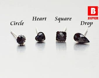 925 Sterling Silver Earrings, Dark Black Onyx Colored Glass Earrings, Cushion Cut Faceted Square Earrings, Stud Earrings (Code : K21)