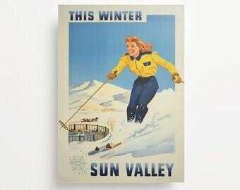 Vintage Travel Poster Sun Valley Idaho Giclée Print