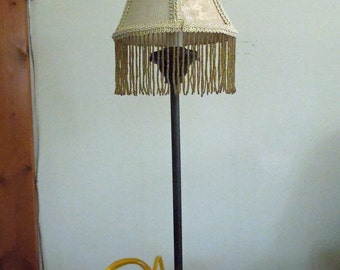 Brass Like Accent Lamp with a Fabric and Beaded Shade