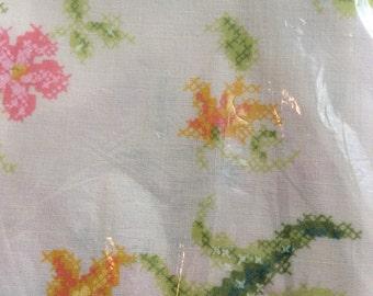 Vintage Pillow case Set,Springmaid  , Cross stitch style floral, original packaging