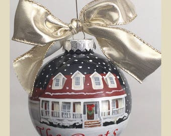 Custom House Portrait Ornament//Personalized First Home Ornament//Housewarming gift//Realtor Closing Gift //House Painting Ornament