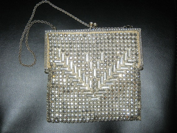 1920s Accessories Guide Flapper Style Purse 1920s Or 1930s Small Purse With Chain Rhinestone Covered Clean Satin Lining Six Missing Stones Beautiful Vintage $60.00 AT vintagedancer.com