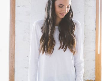 Organic Cotton White Long Sleeve Top - Geranium Long Sleeve