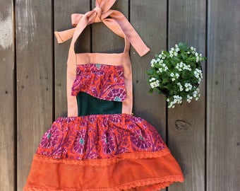 KELLY ANN • Boho Recycled Baby Halter Dress Size 6-12 months