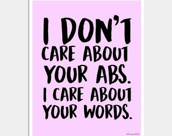 Funny Quote Art - I Donut Care Art Print - I Don't Care About Your Abs I Care About Your Words - Lavender Art Print - Typography Print
