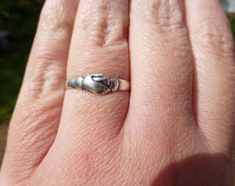 Very Early Antique Victorian Sterling Silver Fede Gimmel Clasped Hands Ring, Eternal Love, Circa 1840s, Size 8.5