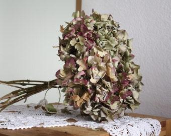 11 Dried Hydrangea flowers purple creamy rustic dried flower bouquets DIY craft bouquet
