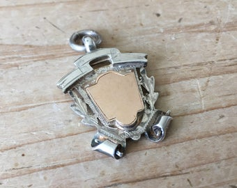 Vintage Art Deco Silver & Rose Gold Fob Scroll Design Empty Cartouche Fully Hallmarked