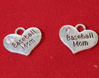 "5pc ""Baseball Mom"" charms in antique silver style (BC1143)"