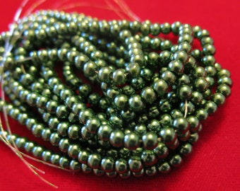 "200pc ""olive green"" imitation pearl spacer bead string (BC1192)"