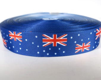 "5 yards of 1 inch ""Australia flag"" grosgrain ribbon"