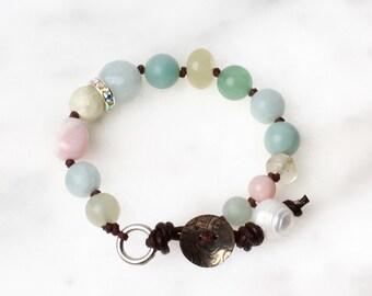 OOAK Hand Knotted Multi-stone Bracelet