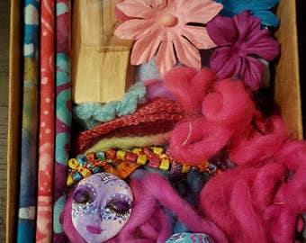 DIY Art Doll/ Fiber Arts-Mixed Media Assemblage doll/ Kitchen Witch/ Spirit doll kit- Wild Flowers
