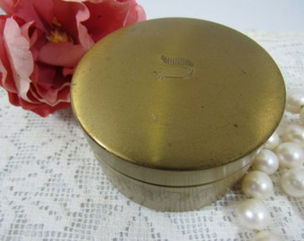 Vintage Gold Metal Face Powder Box 1950's Lyric Cosmetics NY