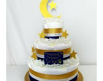 I Love You to the Moon Diaper Cake  Twinkle Twinkle Little Star  Twinkle Twinkle Baby Gifts  I Love You Baby Shower Gifts  Baby Shower Cakes