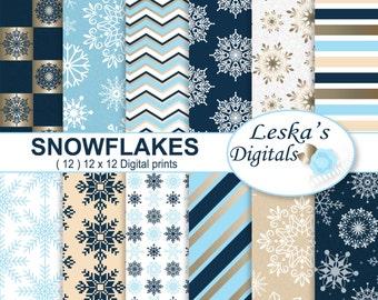 """Snowflake Digital Paper """"CHRISTMAS SNOWFLAKES"""" Winter digital paper, Holiday digital paper, Christmas Scrapbook Paper, Digital Download"""