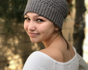 Messy bun beanie, Ponytail beanie, Gift for her