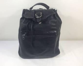 Backpack Bag, Black Leather Backpack, Top Handle