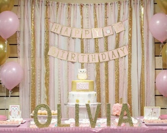 Blush Pink & Gold Garland Backdrop - birthday, baby shower, wedding ... Fabric, Sequin and Lace - decoration