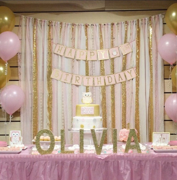 blush pink gold garland backdrop birthday baby shower wedding
