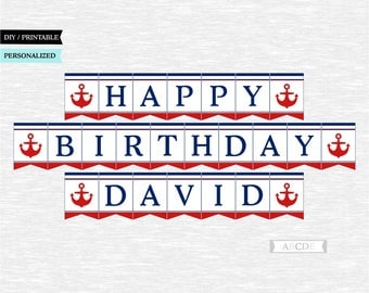 Personalized Red and Navy Nautical Happy Birthday Banner Nautical Party Decoration PRINTABLE DIY (PDNSI001)