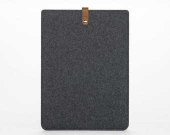 MacBook Pro 15 Retina Cover - Felt MacBook Sleeve - MacBook Pro 15 Inch Case - Felt and Leather MacBook Pro 15 - Grey Felt Case