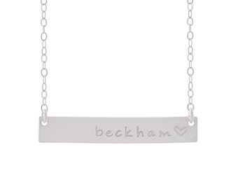 Silver Bar Necklace / Personalized Nameplate Necklace