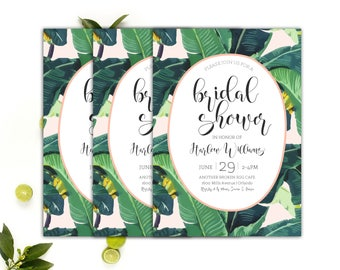 Palm Invitation // Tropical Shower Invitation // Banana Leaf Invitation // Printable Bridal Shower Invitation Tropical Theme // The Harlow