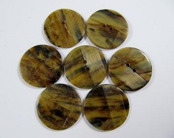 Vintage Lot of 7  Art-Deco Marbled Tortoise Carved Bakelite  / Celluloid  Buttons * 25mm *** # B-205