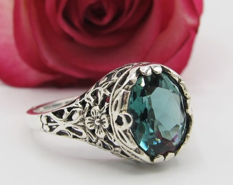 Emerald Solitaire Floral Filigree Ring Antique Vintage Style/ Victorian Edwardian Art Deco Engagement