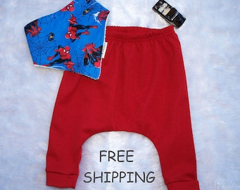 Baby boy pants, Baby boys harem pants, Berry red, baby pants size 3 months, size 6 months,Boys pants size 1 AND 2  FREE BIB and Shipping.
