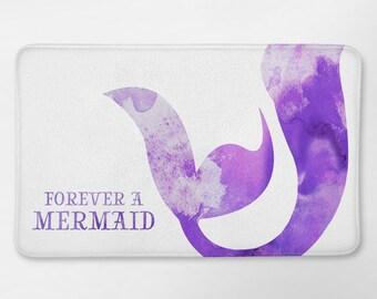 Mermaid Bathroom Decor, Mermaid Bath Mat, Purple Mermaid Bathroom, Mermaid Life, Kids Bathroom, Mermaid Bath Rug, Forever a Mermaid