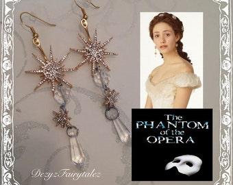 Phantom Of The Opera Earrings Star Bursts Vintage Upcycled Replica Earrings
